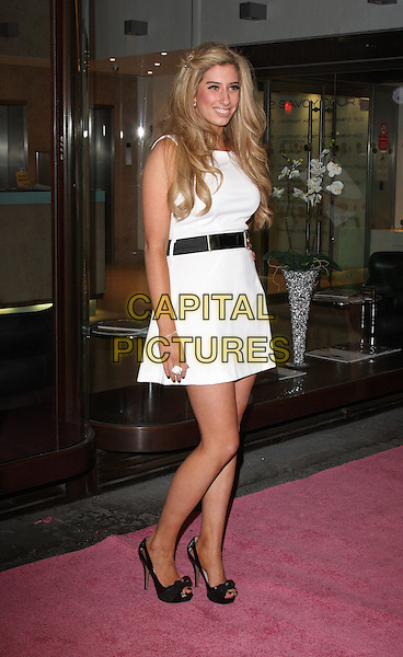 STACEY SOLOMON.Gala Performance of 'Legally Blonde' at the Savoy Theatre, The Strand, London, England..January 13th, 2010.full length  white dress black belt open toe shoes.CAP/ROS.©Steve Ross/Capital Pictures.