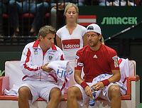 15-sept.-2013,Netherlands, Groningen,  Martini Plaza, Tennis, DavisCup Netherlands-Austria, fourth rubber,   Austrian Bench with captain Clemens Trimmel and Jurgen Melzer (AUT)<br /> Photo: Henk Koster