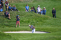 Dustin Johnson (Team USA) hits from the trap on 9 during Friday's foursomes of the 2018 Ryder Cup, Le Golf National, Guyancourt, France. 9/28/2018.<br /> Picture: Golffile | Ken Murray<br /> <br /> <br /> All photo usage must carry mandatory copyright credit (&copy; Golffile | Ken Murray)
