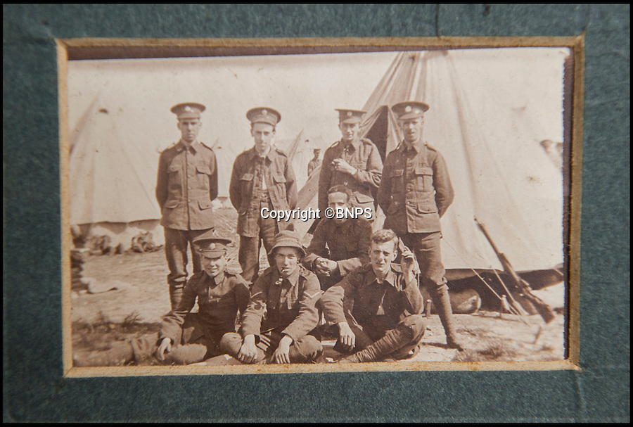 BNPS.co.uk (01202 558833)<br /> Pic: PhilYeomans/BNPS<br /> <br /> Lieutenant Hugh Barker (middle front) with his comrades before embaking for France.<br /> <br /> Found in a old suitcase...poignant letters and photographs from the trenches of the Western Front.<br /> <br /> Germans who fought in the First World War never wanted to kill their English 'Saxon friends', according to a never-before-seen account of the famous Christmas truce of 1914.<br /> <br /> Lieutenant Hugh Barker included the previously-unknown description of the friendly meeting between the warring parties in a letter home to his mother.<br /> <br /> He described how the enemy soldiers he met were from the Saxony region of northern Germany and how they expressed their bemusement and displeasure at having to fight their Anglo-Saxon cousins.<br /> <br /> Lt Barker also documented the carols and banter the two sides exchanged across No Man's Land before both groups of men felt emboldened enough to emerge from their trenches.<br /> <br /> The archive is tipped to sell for £3,000 with C & T Auctions of Ashford, Kent on April 30.