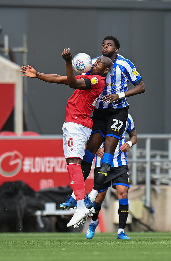 'Bristol City's Benik Afobe (left) battles with Sheffield Wednesday's Dominic Iorfa (right) <br /> <br /> Photographer David Horton/CameraSport<br /> <br /> The EFL Sky Bet Championship - Bristol City v Sheffield Wednesday - Sunday 28th June 2020 - Ashton Gate Stadium - Bristol <br /> <br /> World Copyright © 2020 CameraSport. All rights reserved. 43 Linden Ave. Countesthorpe. Leicester. England. LE8 5PG - Tel: +44 (0) 116 277 4147 - admin@camerasport.com - www.camerasport.com