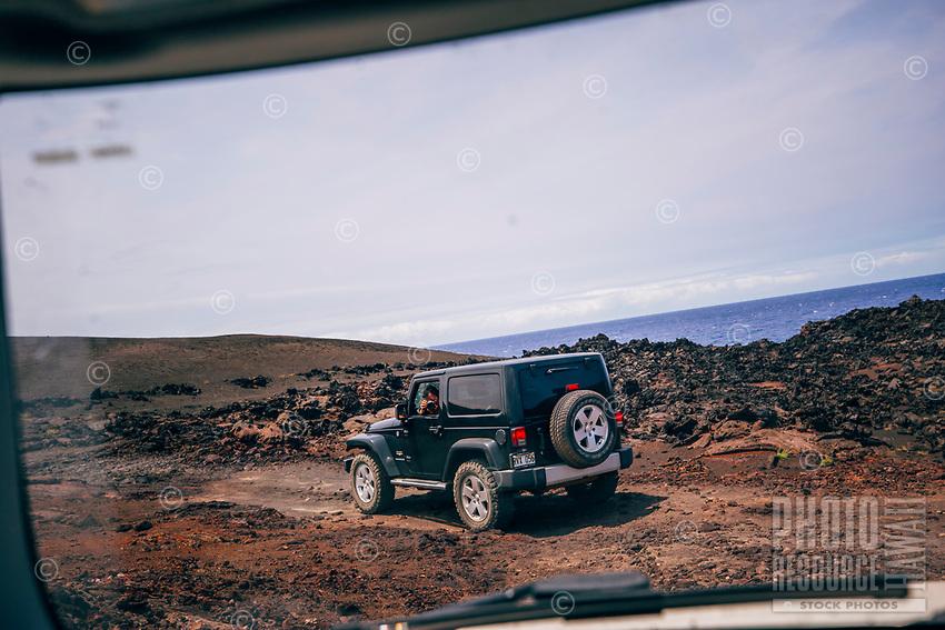 Friends follow friends while off-roading along Road to the Sea, Hawai'i Island.