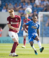 Jevani Brown of Colchester United lays the ball forward during Colchester United vs Northampton Town, Sky Bet EFL League 2 Football at the JobServe Community Stadium on 24th August 2019