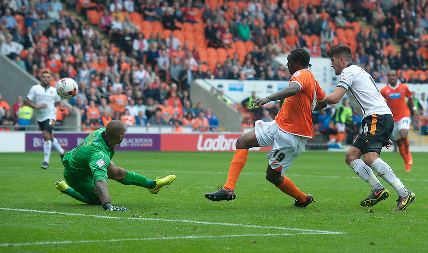 Blackpool's Nile Ranger see his shot hit the bar after beating Wolverhampton Wanderers' goalkeeper Carl Ikeme in this one on one situation<br /> <br /> Photographer Stephen White/CameraSport<br /> <br /> Football - The Football League Sky Bet Championship - Blackpool v Wolverhampton Wanderers - Saturday 13th September 2014 - Bloomfield Road - Blackpool<br /> <br /> &copy; CameraSport - 43 Linden Ave. Countesthorpe. Leicester. England. LE8 5PG - Tel: +44 (0) 116 277 4147 - admin@camerasport.com - www.camerasport.com