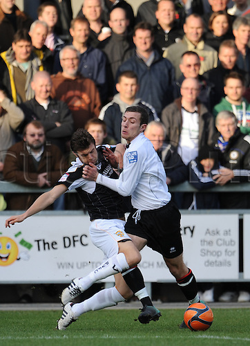 06.11.2010 FA Cup 1st Round from Princes Park,Dartford v Port Vale. Dartfords Ryan Hayes takes on the Port Vale defence in the 1-1 draw