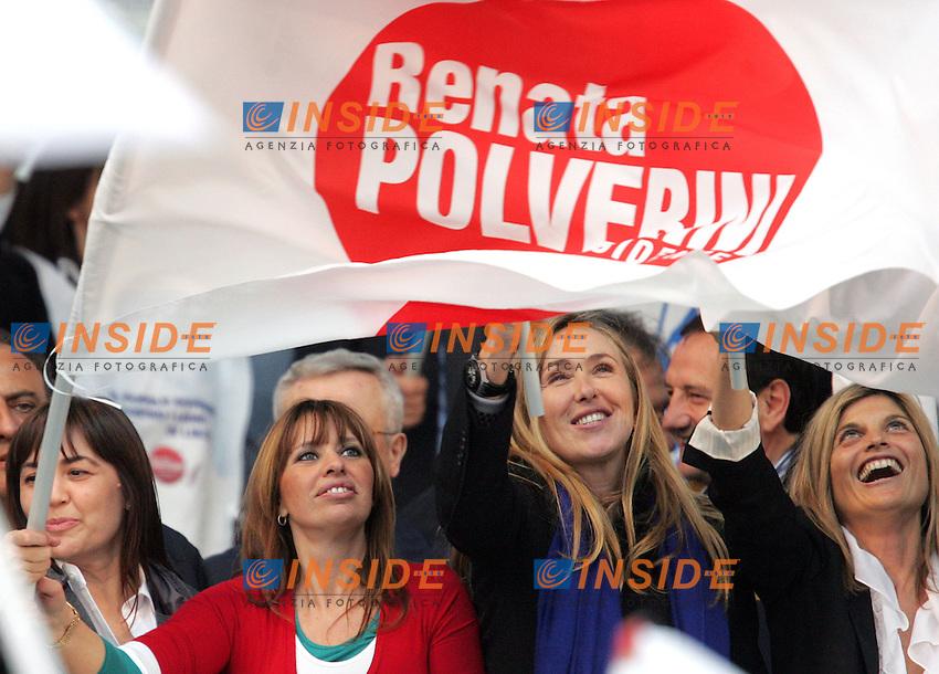 RENAYTA POLVERINI, ALESSANDRA MUSSOLINI, STEFANIA PRESTIGIACOMO E LAURA RAVETTO <br /> Roma 20/03/2010 Piazza San Giovanni. Manifestazione del PDL dal titolo: L'amore vince sempre sull'invidia e sull'odio.<br /> Demonstration of the right wing party PDL titled &quot;Love always wins on gelousy and hate.<br /> Photo Samantha Zucchi Insidefoto