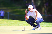 James Morrison eyes up his putt on the 4th green during the BMW PGA Golf Championship at Wentworth Golf Course, Wentworth Drive, Virginia Water, England on 26 May 2017. Photo by Steve McCarthy/PRiME Media Images.