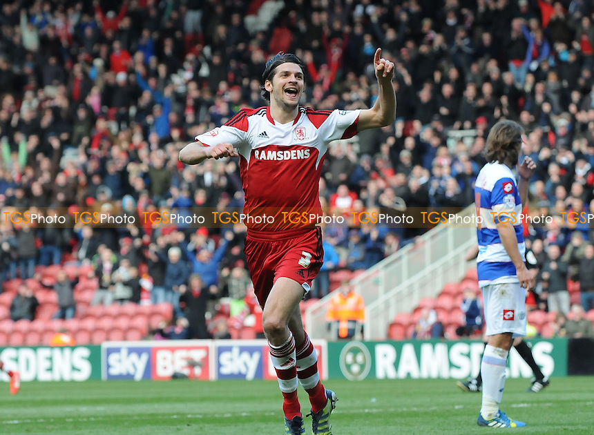 George Friend of Middlesbrough celebrates scoring the opening goal of the game - Middlesbrough vs Queens Park Rangers - Sky Bet Championship Football at the Riverside Stadium, Middlesbrough - 22/03/14 - MANDATORY CREDIT: Steven White/TGSPHOTO - Self billing applies where appropriate - 0845 094 6026 - contact@tgsphoto.co.uk - NO UNPAID USE
