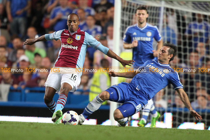 Fabian Delph of Aston Villa challenged by Frank Lampard of Chelsea - Chelsea vs Aston Villa - Barclays Premier League Football at Stamford Bridge, Fulham Road, London - 21/08/13 - MANDATORY CREDIT: Simon Roe/TGSPHOTO - Self billing applies where appropriate - 0845 094 6026 - contact@tgsphoto.co.uk - NO UNPAID USE