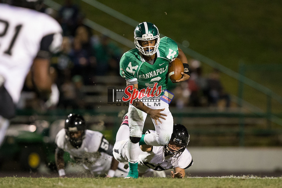 Damon Johnson (3) of the A.L. Brown Wonders runs with the football during first half action against the Hough Huskies at A.L. Brown High School on October 16, 2015 in Kannapolis, North Carolina.  The Huskies defeated the Wonders 21-7.  (Brian Westerholt/Sports On Film)