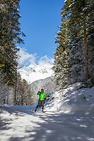 Austria, Tyrol, near bei St. Ulrich am Pillersee: cross-country ski run between St. Ulrich am Pillersee and Hochfilzen | Oesterreich, Tirol, bei St. Ulrich am Pillersee: Langlaufloipe zwischen den Orten St. Ulrich am Pillersee und Hochfilzen