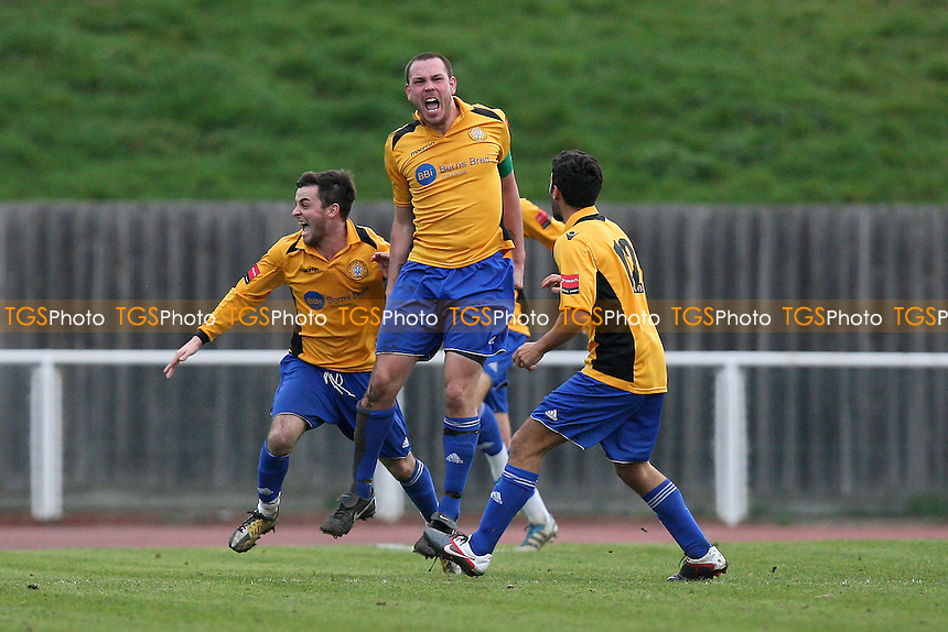 Cray players celebrate their second and winning goal - AFC Hornchurch vs Cray Wanderers - Ryman League Premier Division Football at the Stadium - 17/03/12 - MANDATORY CREDIT: Gavin Ellis/TGSPHOTO - Self billing applies where appropriate - 0845 094 6026 - contact@tgsphoto.co.uk - NO UNPAID USE.
