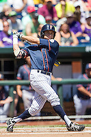 Cal State Fullerton outfielder Josh Vargas (40) follows through on his swing during the NCAA College baseball World Series against the LSU Tigers on June 16, 2015 at TD Ameritrade Park in Omaha, Nebraska. LSU defeated Fullerton 5-3. (Andrew Woolley/Four Seam Images)