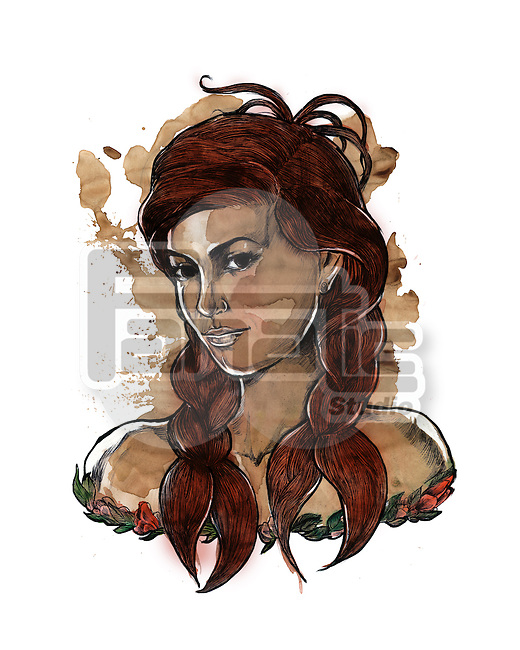 Illustration of young woman with hair in claw shape representing Cancer zodiac sign
