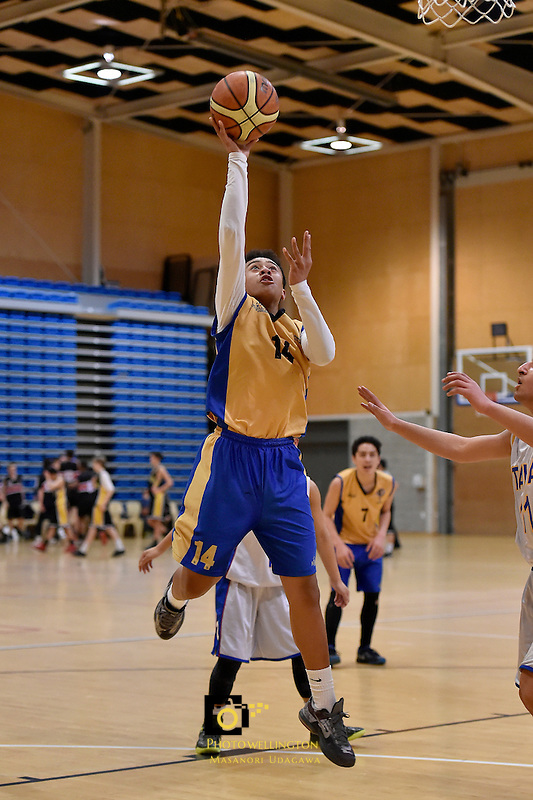 Action from the Basketball Junior Boys Premier Final - Rongotai College v Tawa College at Te Rauparaha Arena, Porirua, New Zealand on Tuesday 25 August 2015.<br /> Photo by Masanori Udagawa. www.photowellington.photoshelter.com.