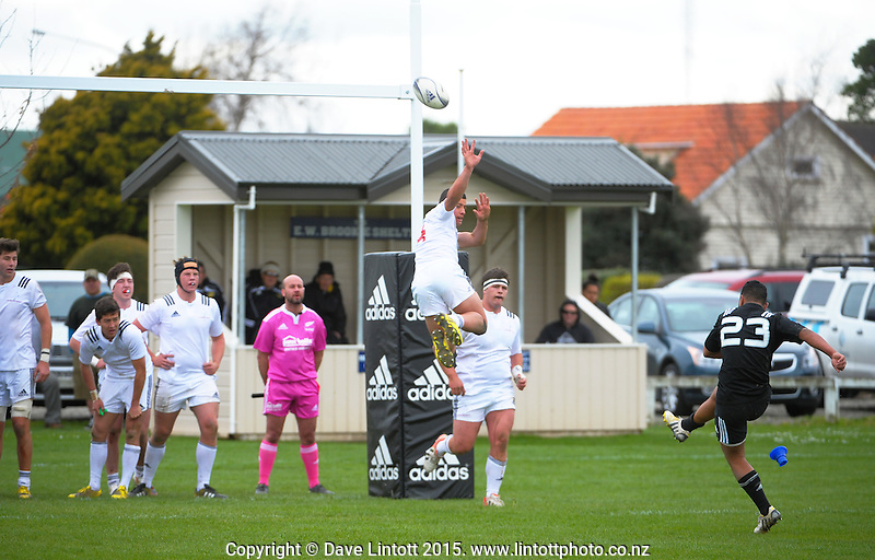Wiseguy Faiane kicks the winning conversion to take NZ to a 20-18 victory during the rugby union match between New Zealand Secondary Schools and NZ Schools Barbarians at PNBHS, Palmerston North, New Zealand on Saturday, 19 September 2015. Photo: Dave Lintott / lintottphoto.co.nz