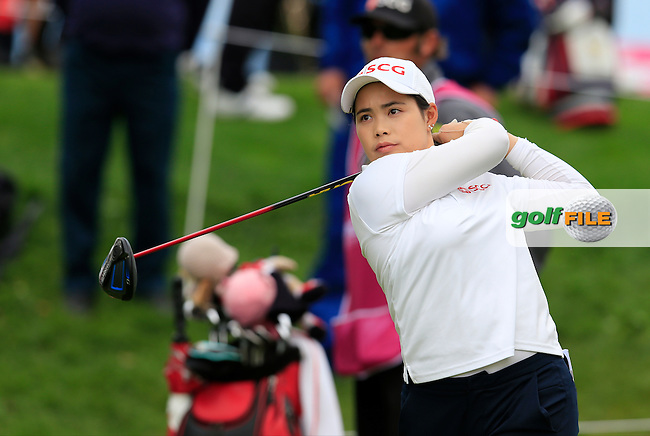 Moriya Jutanugarn (THA) tees off the 7th tee during Friday's Round 2 of The 2016 Evian Championship held at Evian Resort Golf Club, Evian-les-Bains, France. 16th September 2016.<br /> Picture: Eoin Clarke | Golffile<br /> <br /> <br /> All photos usage must carry mandatory copyright credit (&copy; Golffile | Eoin Clarke)