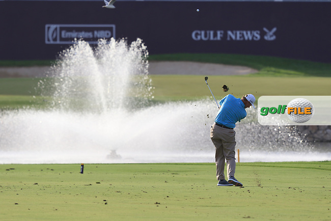 Ernie Els (USA) on the 18th during Round 4 of the Omega Dubai Desert Classic, Emirates Golf Club, Dubai,  United Arab Emirates. 27/01/2019<br /> Picture: Golffile | Thos Caffrey<br /> <br /> <br /> All photo usage must carry mandatory copyright credit (© Golffile | Thos Caffrey)
