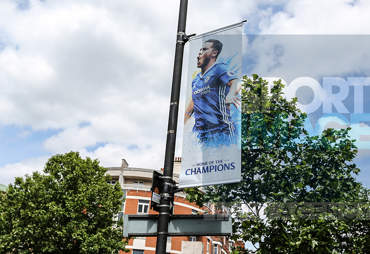A home of champions banner during the Premier League match at Stamford Bridge Stadium, London. Picture date: May 18th, 2017. Pic credit should read: David Klein/Sportimage