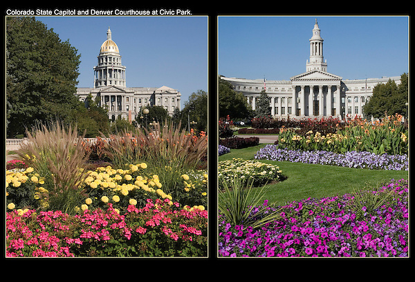 Colorado State Capitol (left),  Denver County Courthouse, Denver, Colorado.<br /> John leads private, photo tours of Denver, Boulder and nearby mountains. Click the above CONTACT button for inquiries. Denver tours.