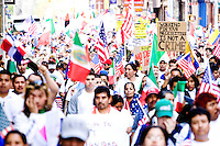 People march down Broadway towards City Hall in New York City protesting the United States immigration policy on May 1, 2006.