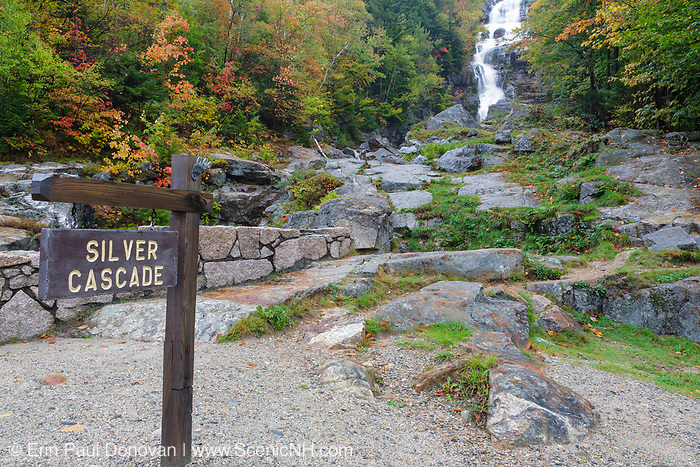 Silver Cascade in Hart's Location, New Hampshire on a rainy and fog autumn day. This waterfall is roadside along Route 302 in Crawford Notch State Park.