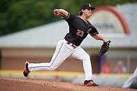 Batavia Muckdogs relief pitcher Ryan McKay (23) delivers a pitch during a game against the Auburn Doubledays on September 3, 2018 at Dwyer Stadium in Batavia, New York.  Auburn defeated Batavia 8-5.  (Mike Janes/Four Seam Images)