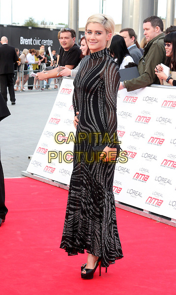 KATIE WAISSEL .National Movie Awards 2011 at Wembley Arena, London, England, UK, .May 11th 2011..full length black high neck long maxi sleeve dress platform shoes heels  sheer silver see thru through .CAP/ROS.©Steve Ross/Capital Pictures