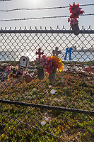 The fence along the jetty path at Encinal Beach is adorned with decorations, mostly colorful artificial flowers.