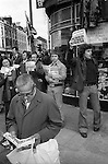 National Front supporters sell the Natioanl Front News every Sunday morning at the junctin of Brick Lane and Bethnal Green Road. London 1970s ..