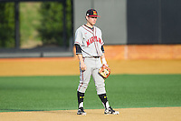 Maryland Terrapins second baseman Brandon Lowe (16) on defense against the Wake Forest Demon Deacons at Wake Forest Baseball Park on April 4, 2014 in Winston-Salem, North Carolina.  The Demon Deacons defeated the Terrapins 6-4.  (Brian Westerholt/Four Seam Images)