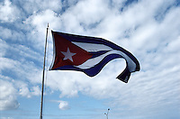 The Flag of Cuba flies near The Hotel Nacional in Havana