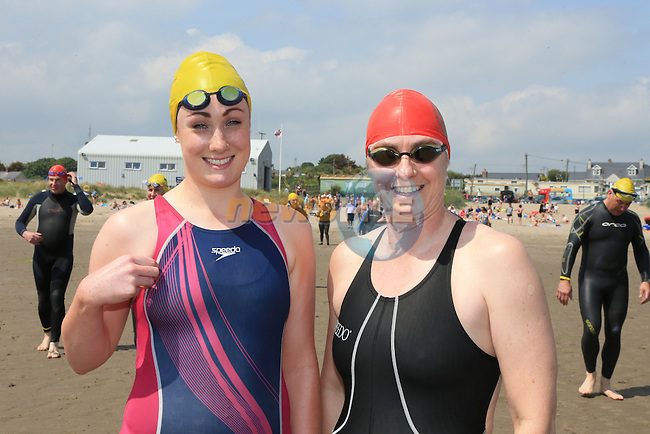 Rachel Nevins and Dymphna Morris<br /> at the round the head swim in clogherhead.<br /> Picture:  www.newsfile.ie