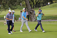 Jose Maria Olazabal (ESP), Andrea Pavan (ITA) and Pablo Larrazabal (ESP) share a laugh on the 7th during the second round of the Mutuactivos Open de Espana, Club de Campo Villa de Madrid, Madrid, Madrid, Spain. 04/10/2019.<br /> Picture Hugo Alcalde / Golffile.ie<br /> <br /> All photo usage must carry mandatory copyright credit (© Golffile | Hugo Alcalde)