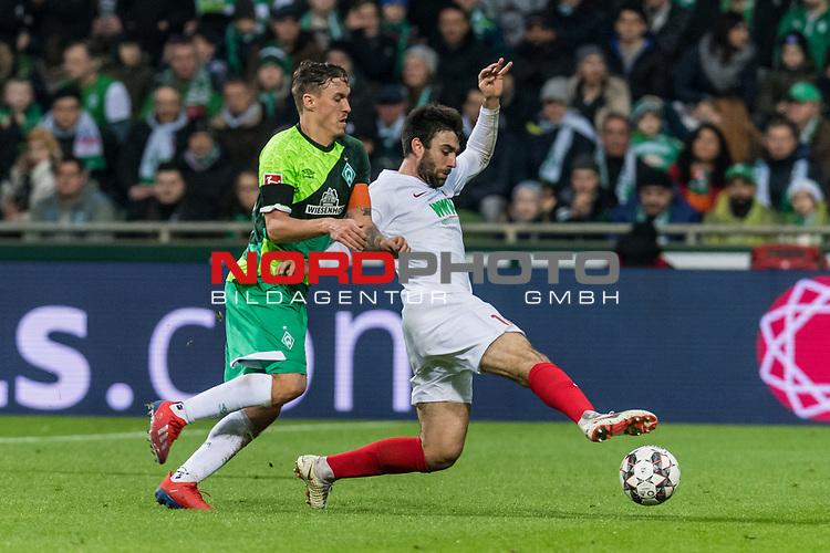 10.02.2019, Weserstadion, Bremen, GER, 1.FBL, Werder Bremen vs FC Augsburg<br /> <br /> DFL REGULATIONS PROHIBIT ANY USE OF PHOTOGRAPHS AS IMAGE SEQUENCES AND/OR QUASI-VIDEO.<br /> <br /> im Bild / picture shows<br /> Max Kruse (Werder Bremen #10) im Duell / im Zweikampf mit Jan Moravek (FC Augsburg #14), <br /> <br /> Foto © nordphoto / Ewert
