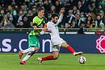 10.02.2019, Weserstadion, Bremen, GER, 1.FBL, Werder Bremen vs FC Augsburg<br /> <br /> DFL REGULATIONS PROHIBIT ANY USE OF PHOTOGRAPHS AS IMAGE SEQUENCES AND/OR QUASI-VIDEO.<br /> <br /> im Bild / picture shows<br /> Max Kruse (Werder Bremen #10) im Duell / im Zweikampf mit Jan Moravek (FC Augsburg #14), <br /> <br /> Foto &copy; nordphoto / Ewert