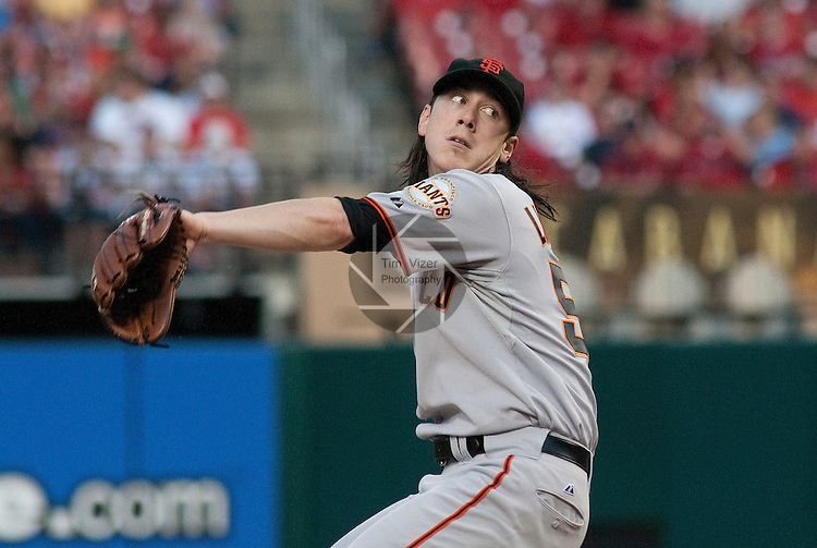 01 June 2011                San Francisco Giants starting pitcher Tim Lincecum (55) throws early in the game.  The San Francisco Giants defeated the St. Louis Cardinals 7-5 in 11 innings  on Wednesday June 1, 2011 in the third game of a four-game series at Busch Stadium in downtown St. Louis.