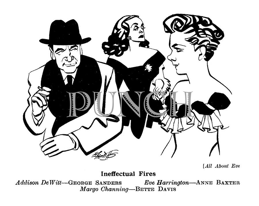All About Eve : Addison DeWitt - George Sanders. Eve Harrington - Anne Baxter. Margo Channing - Bette Davis.