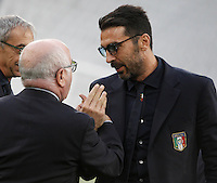 Italy's goalkeeper Gianluigi Buffon, right, listens to Italian Soccer Federation (FIGC) president Carlo Tavecchio during the walk around the pitch of the Juventus Stadium, ahead of the FIFA World Cup 2018 qualification match against Spain, in Turin, 5 October 2016.<br /> <br /> <br /> UPDATE IMAGES PRESS/Isabella Bonotto