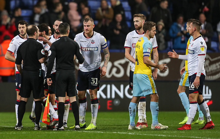 Players and officials shake hands at the end of the match<br /> <br /> Photographer Andrew Kearns/CameraSport<br /> <br /> The EFL Sky Bet Championship - Bolton Wanderers v Rotherham United - Wednesday 26th December 2018 - University of Bolton Stadium - Bolton<br /> <br /> World Copyright © 2018 CameraSport. All rights reserved. 43 Linden Ave. Countesthorpe. Leicester. England. LE8 5PG - Tel: +44 (0) 116 277 4147 - admin@camerasport.com - www.camerasport.com