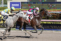HALLANDALE BEACH, FL - FEBRUARY 04:  Tequilita (KY) #4 with jockey Luis Saez on board wins the Forward Gal Stakes G2 at Gulfstream Park on February 04, 2017 in Hallandale Beach, Florida. (Photo by Liz Lamont/Eclipse Sportswire/Getty Images)