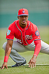 24 February 2019: Washington Nationals top prospect outfielder Victor Robles warms up prior to a Spring Training game against the St. Louis Cardinals at Roger Dean Stadium in Jupiter, Florida. The Nationals defeated the Cardinals 12-2 in Grapefruit League play. Mandatory Credit: Ed Wolfstein Photo *** RAW (NEF) Image File Available ***