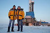 Ingo Neubert (L), deputy director, and Oleg Osepovich, general director, at Achimgaz's drilling well in Novy Urengoi, Arctic Siberia, Russia. Achimgaz is a joint-venture between Germany's BASF Wintershall and Russia's Gazprom. Photo by photographer Justin Jin.