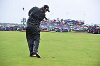 Shane Lowry plays his 3rd shot into the 18th during the 3rd playoff  hole during the Final Round of the 3 Irish Open on 17th May 2009 (Photo by Eoin Clarke/GOLFFILE)