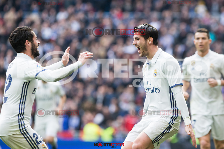 Alvaro Morata and Isco Alarcon  of Real Madrid celebrates after scoring a goal during the match of La Liga between Real Madrid and RCE Espanyol at Santiago Bernabeu  Stadium  in Madrid , Spain. February 18, 2016. (ALTERPHOTOS/Rodrigo Jimenez) /Nortephoto.com