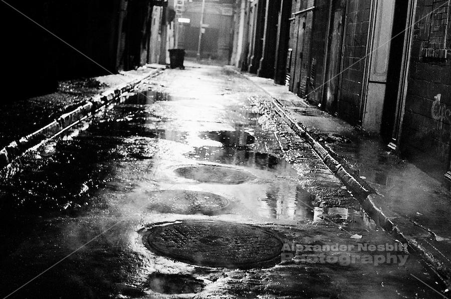 Tribeca, New York - Ann street on a rainy night.