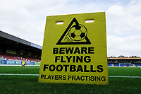 Beware of flying balls sign ahead of AFC Wimbledon vs Scunthorpe United, Sky Bet EFL League 1 Football at the Cherry Red Records Stadium on 15th September 2018