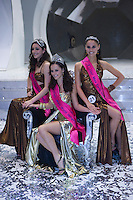 Miss Universe Hungary Timea Babinyecz (L), Miss World Hungary Agnes Dobo (C) and Miss Earth Hungary Jennifer Kalo (R). .The Queen live TV show hosting the three beauty contests Miss World Hungary, Miss Universe Hungary and Miss Earth Hungary, held in RTL Klub television headquarter Media Center Campona, Budapest, Hungary. Thursday, 13. May 2010. ATTILA VOLGYI