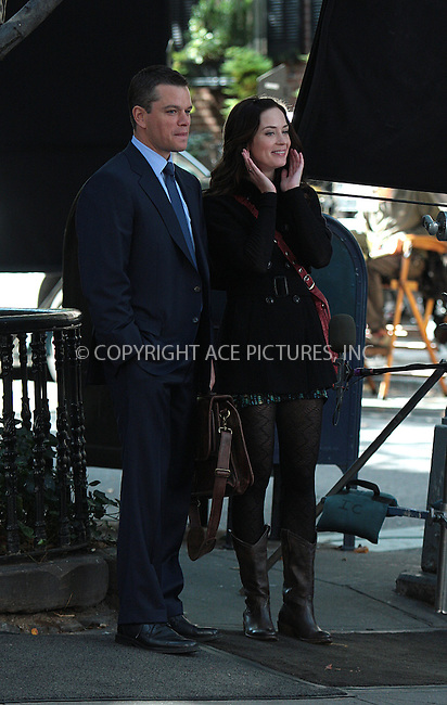 WWW.ACEPIXS.COM . . . . .  ....October 5 2009, New York City....Actors Matt Damon and Emily Blunt on the West Village set of the new movie 'The Adjustment Bureau' on October 5 2009 in New York City....Please byline: AJ Sokalner - ACEPIXS.COM.... *** ***..Ace Pictures, Inc:  ..(212) 243-8787 or (646) 769 0430..e-mail: picturedesk@acepixs.com..web: http://www.acepixs.com