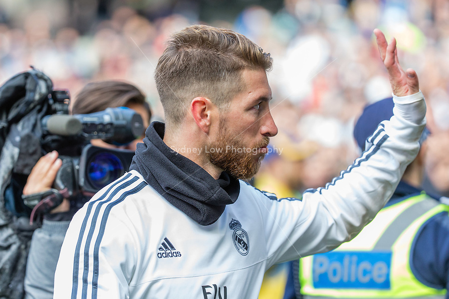 Melbourne, 17 July 2015 - Sergio Ramos of Real Madrid leaves the ground after a training session at the Melbourne Cricket Ground ahead of their International Champions Cup match against AS Roma tomorrow in Melbourne, Australia. Photo Sydney Low/AsteriskImages.com